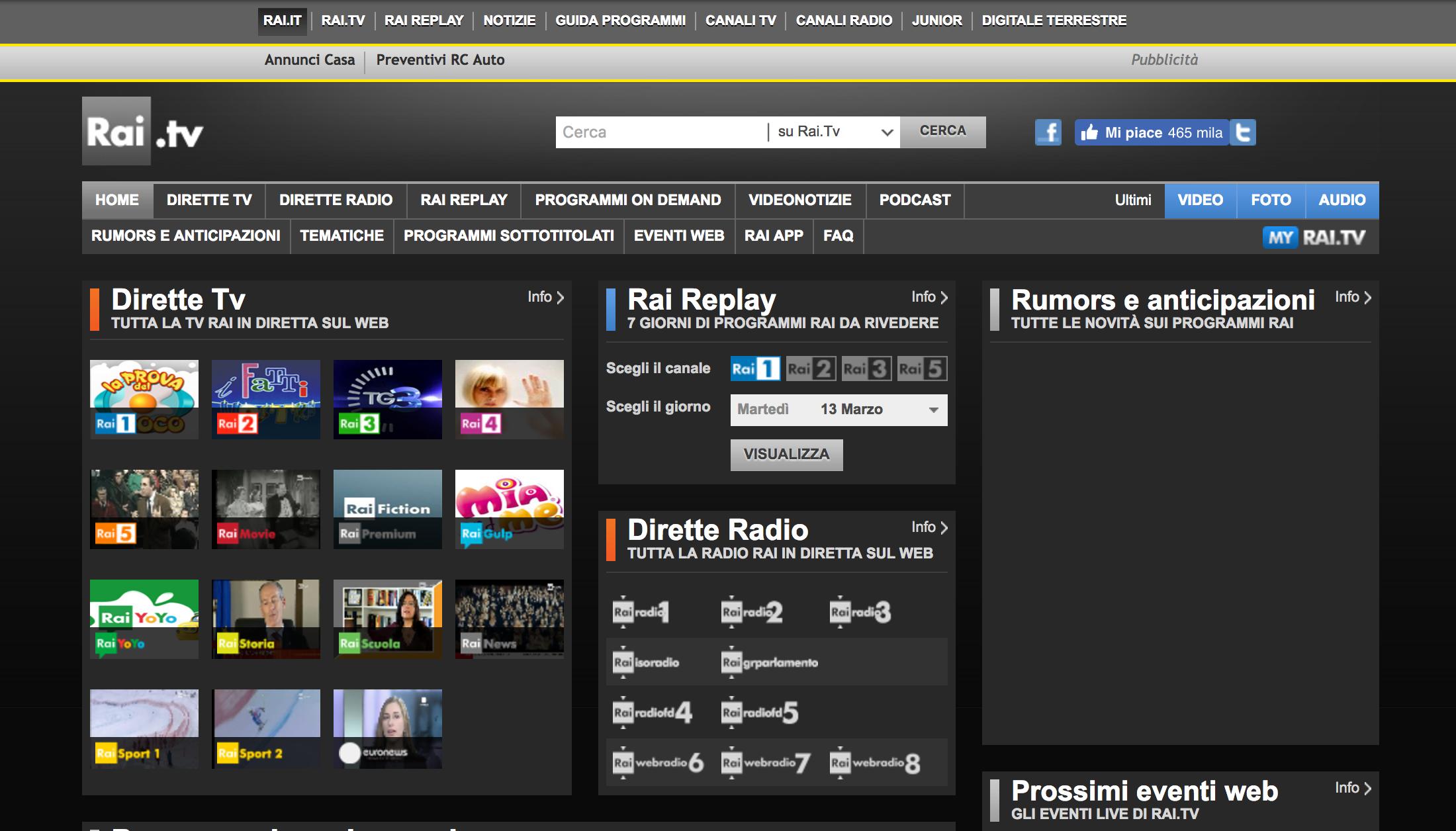 Rai.tv come si presentava nel 2014